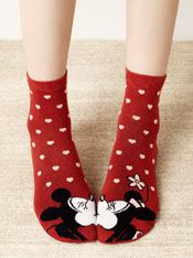 Mickey and Minnie Mouse kissing socks