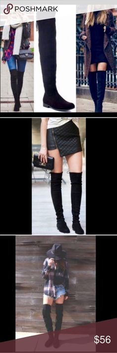 """🌟BEST SELLER🌟Black Over-the-Knee Boots Drawstring top. Exceptionally soft faux suede.  Inside zipper runs from foot to mid lower leg. Slightly rounded toe. Fabric has give to it. Fits true to size. Approximate measurements, leg opening 17"""", calf 15"""", 25"""" shaft height. Center image of covershot and image 4 of actual boots. As with all merchandise, seller not responsible for fit nor comfort. Brand new retail. No trades, no off App transactions or negotiations.   ❗️PRICE IS FIRM UNLESS…"""