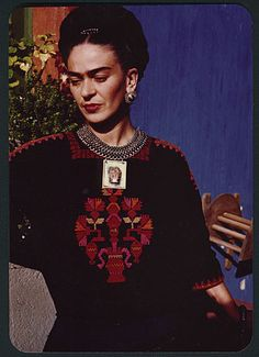 Citation: Frida Kahlo in the patio of her house, Coyoacán, Mexico, 1948 / Florence Arquin, photographer. Florence Arquin papers, Archives of American Art, Smithsonian Institution.