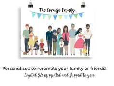 Custom Family Portrait with Dog cat, Personalised Family Print, Family Portrait Illustration, Family Portrait with Pets Personalised Family Print, Elephant Family, Portrait Illustration, Home Gifts, Family Portraits, House Warming, My Photos, Dog Cat, Pets