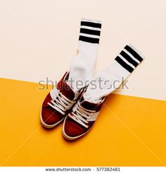 Urban Style Clothing. Skateboard fashion outfit. Sneakers, stockings