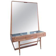 Italian Maple Vanity Dresser with Mirror Attributed to Silvio Cavatorta, 1950s Wall Desk, Dresser With Mirror, Metallic Paint, Green Colors, Stained Glass, Mid-century Modern, 1950s, Vanity, Mid Century