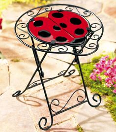 Lady Bug Stained Glass Patio Table