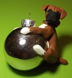 Boxer dog on a Silver Ornament Ball