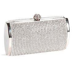 Bolso de Fiesta o Boda para Mujer de cristales, plateado Cute Purses For Cheap, Metallic Handbags, Silver Purses, Silver Bags, Silver Clutch, Wedding Purse, White Handbag, Clutch Purse, Evening Bags