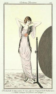 Fernand Simeon (French, 1884-1928). Plate 26. Deshabillé de mousseline de soie glycine drapé et bordé de fourrure. Petit casaque de velours noir frappé 1912