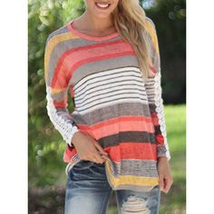 Casual Lace Spliced Long Sleeve Colorful Striped T-Shirt For Women (ORANGE,XL) in Long Sleeves | DressLily.com