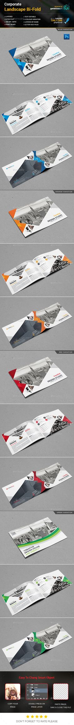 Landscape Bi-Fold Brochure Template PSD. Download here: https://graphicriver.net/item/landscape-bifold-brochure/17044735?ref=ksioks
