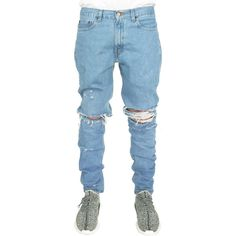enslaved The Light Wash Ripped Custom Jeans in Light Blue ($56) ❤ liked on Polyvore featuring men's fashion, men's clothing, men's jeans y light blue
