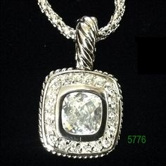 """Clear Silver Bezel with Clear CZ Pave Lobster Claw Necklace 16+2"""""""