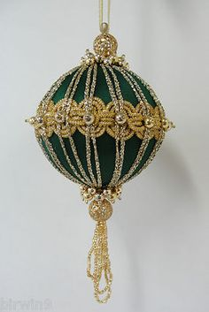 "Stunning green and gold Christmas tree ornament. Handmade 5""."