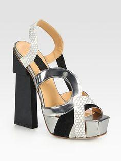 Aperlai - Mixed-Media Slingback Platform Sandals - Saks.com    WOW!!! JUST WOW!!!