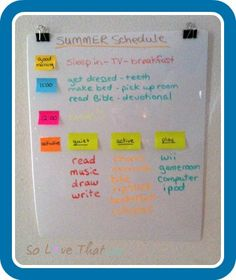 A Daily Summer Schedule for Kids...idea for keeping kids busy during the summer