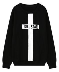 Fleece Sweatshirt with Cross Print