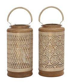 Deco 79 49638 Metal Wood White Lantern 2 Assorted 6W16H * Check out the image by visiting the link.