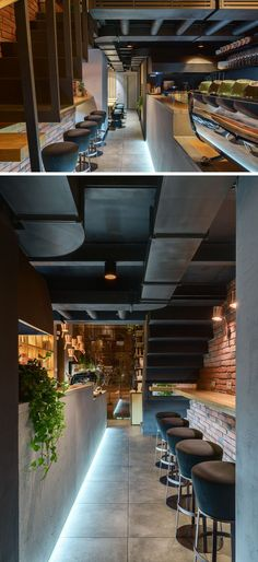 Located under the stairs in this modern coffee shop, is a small nook that's large enough for some bar seating. #BarSeating #CoffeeShop