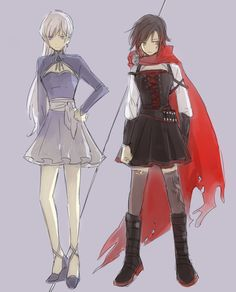 Weiss Schnee and Ruby Rose Volume 4 outfits RWBY