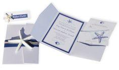 Beach Classic Blue White Beach Invitations Wedding Invitations Photos & Pictures - WeddingWire.com
