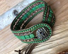 Items similar to Leather Wrap Cuff Bracelet on Etsy Pandora Bracelets, Beaded Bracelets, Beaded Jewelry, Handmade Jewelry, Leather Jewelry, Leather Wrap Bracelets, Leather Art, Braided Leather, Bracelet Cuir