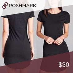 Tee dress black Black tee dress to bundle with your leggings or Cassie skirts!! They are a form fitting tee shirt so standard size or size up one ! Tops Tunics