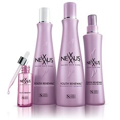 NEW Nexxus Youth Renewal™ line combats eight visible signs of aging hair. NEW Nexxus Youth Renewal™ Rejuvenating Elixir lightweight leave-in treatment helps rebuild hair's strength while making hair look more youthful, vibrant and radiant in just seven days. *versus non-conditioning shampoo