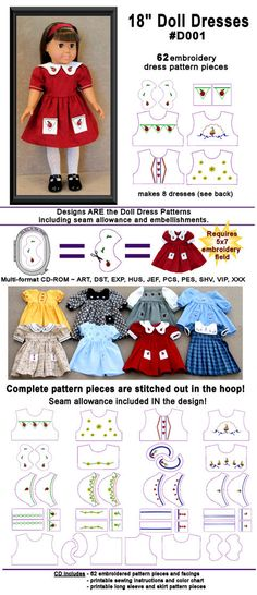 in the hoop doll embroidery and patterns that you embroider, cut, and sew together -- for American Girl dolls. http://sistitches.com/x18_doll_clothes.htm