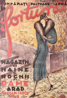 Afiş al unei reclame a magazinului arădean Fortuna, stil Art Deco, cromolitografie de István Beleznay