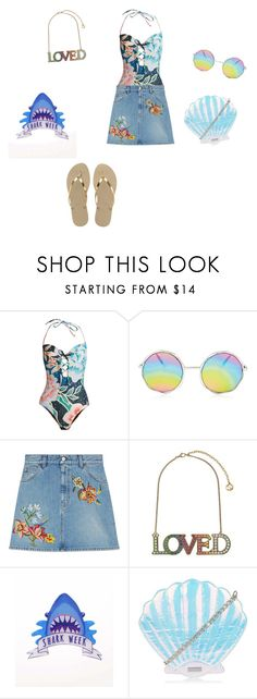 """""""Untitled #305"""" by abantescu23 ❤ liked on Polyvore featuring Mara Hoffman, Gucci and Havaianas"""