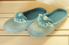 Тапочки валяные - бирюзовый, Тапочки ручной работы, тапочки из шерсти, валяная обувь