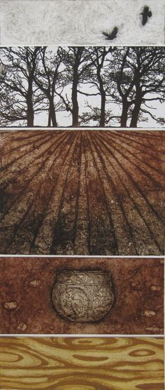 Hidden in the Vale, solarplate/collagraph/drypoint on plaster, 28 x 66cm, edition number 20, £420