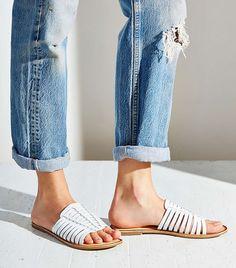 BC Footwear Tomkat Slide Sandals // Huarache  style slides in white