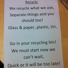 """Use Resources Wisely Daisy Petal: Recycling song (to the tune of """"Twinkle, Twinkle Little Star"""""""