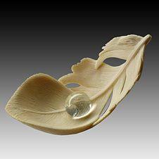 Mammoth ivory Feather and Dew-drop Iwami Netsuke - Natasha Popova, 2006