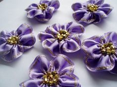 Handmade Hyacinth Ribbon Flower Appliques by BizimSupplies on Etsy, $9.00