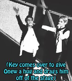 Onew, Minho, & Key (SHINee) left the stage together.  (.gif set).