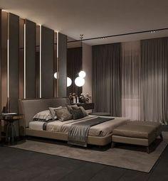 Contemporary bedroom interior design that very cozy 35 Modern Master Bedroom, Master Bedroom Design, Minimalist Bedroom, Contemporary Bedroom, Contemporary Style, Bedroom Designs, Bedroom Neutral, Master Suite, Master Bedrooms