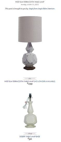 COPY CAT CHIC FIND: WEST ELM TERRACOTTA TABLE LAMP VS DESERT TABLE LAMP BASE