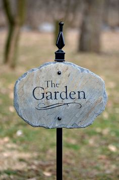 Carved Garden Sign Marker with Stake / Slate by TMichaelStudio
