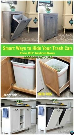 Smart Ways to Hide Trash Can: trash cans in the kitchen can be an eyesore for most of us, these DIY solutions with instructions can help hide them. Smart Ways to Hide Trash Can: 5 DIY Trash Can Cabinet Projects with Instructions help hide kitchen eyesore. Diy Furniture Videos, Diy Furniture Table, Diy Furniture Plans, Couch Furniture, Kitchen Furniture, Furniture Stores, Furniture Removal, Luxury Furniture, Furniture Buyers