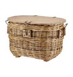 Lidded Basket Trunk... cool to have wood on the top for a mini table on the go, or a side table plant stand for a porch