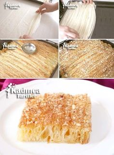 Semolina Curtain Dessert, How To? - Womanly Recipes - Delicious, Practical and Delicious Food Recipes Site , Easy Cake Recipes, Easy Desserts, Dessert Recipes, Dessert Food, Turkish Sweets, Ramadan Recipes, Sweet Pastries, Food Platters, Turkish Recipes
