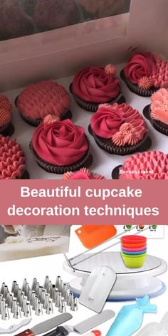 Cupcake Decorating Tips, Cake Decorating Frosting, Creative Cake Decorating, Cookie Decorating, Kreative Desserts, Decoration Patisserie, Beautiful Cupcakes, Beautiful Birthday Cakes, Pretty Cupcakes