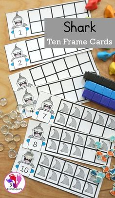 Free Hands-On Learning With Shark Ten Frames 1 to 10 - Fun ten frame cards that come with numbers filled out and blank for kids to fill out in a great shark theme for a shark theme day - 3Dinosaurs.com #freeprintable #tenframecards #sharkprintables #sharkweek #numbers #counting #kindergarten #firstgrade #3dinosaurs. Hands On Learning, Kids Learning, Early Learning, Teaching Math, Preschool Activities, Number Activities, Shark Activities, Learning Numbers, Ten Frames