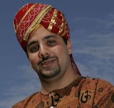Red Gold Turban Hat Shek Aladdin Sultan Arabian Prince Costume India Sikh Vezir…
