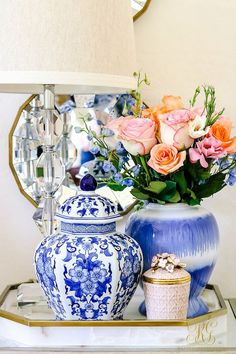 Blue and white ginger jars and Jay Strongwater jeweled candle 5 Sentimental Gift Ideas for Any Occasion - Randi Garrett Design