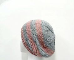 c54c1b533f9 Knitted beanie hat gray and pink hand knitted one by CaboDesigns