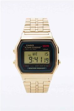 Casio Large Digital Watch Black And Gold Urban Outfitters 6cca4393171
