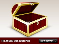 Nice Treasure box Icon PSD. This is an excellent Treasure Box graphic with golden edges. As always this is a fully layered Photoshop file with all the layers intact so you can check them. In addition to that treasure box into 3 useful icons of sizes 512x512 px 256x256 px and 128x128 px. You can use the treasure box and icons in your web designs and user interfaces.  #box #downloadpsd #File #free #freepsd #gold #icon #icons #images #money #objects #psd #resources #Sources #templates #Treasure…
