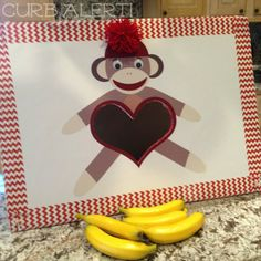Curb Alert!: Sock Monkey Banana Toss {Birthday Party Game} all sorts of sock monkey project ideas for parties