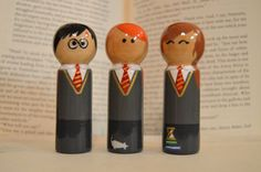 Hand-painted Harry, Ron, and Hermonie peg dolls. Each doll has intricate details applicable to each character - Harrys scar and glasses, Ron and Scabbers, and Hermonie with her books and time turner. Each Doll is three inches tall. And each have been treated with a thick hard coating of lacquer to help make your dolls more durable and last longer.